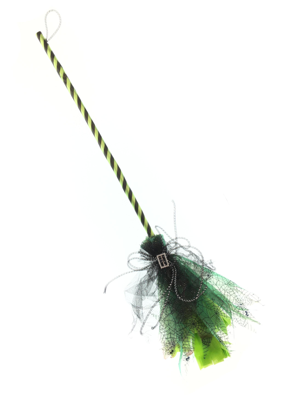 Kostuemzubehor Hexenbesen gruen 92cm