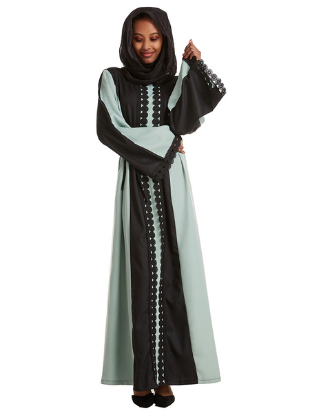 Milanoo Baju Muslim Abaya Dress Ropa arabe Mangas largas Vestido largo de dos tonos