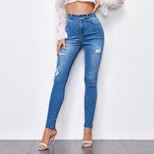 Skinny Jeans mit Riss und Waschung