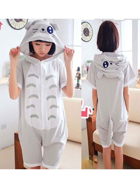 Milanoo Totoro Kigurumi Pajamas Onesie Light Grey Short Summer Animal Sleepwear For Adults