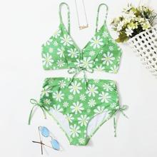 Floral Drawstring High Waist Bikini Swimsuit