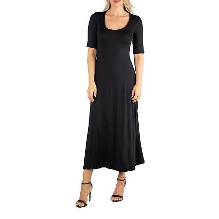 24/7 Comfort Apparel Casual Maxi Dress With Short Sleeves, Medium , Black