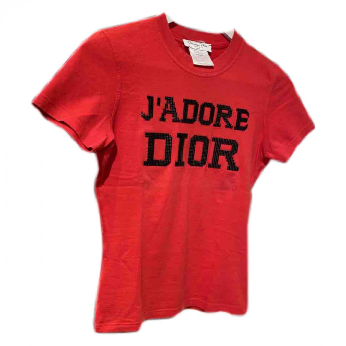 Dior - Top   pour femme en coton - rouge
