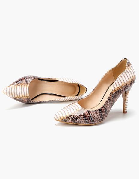 Milanoo Serpiente de impresion bombas de dedo del pie puntiagudo