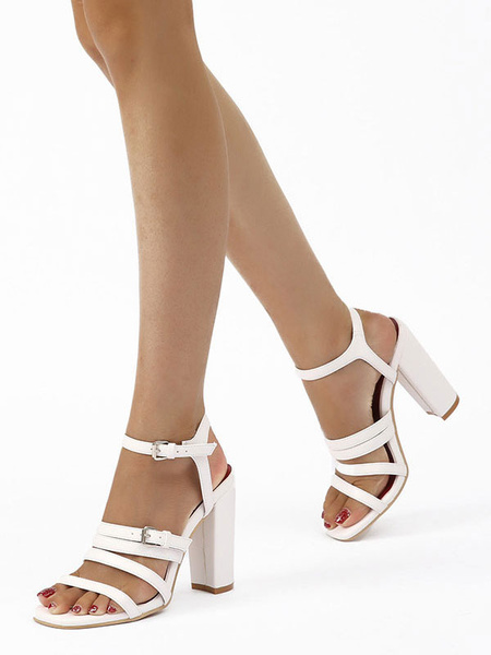 Milanoo Block Heel Sandals White Open Toe Buckle Detail Ankle Strap High Heel Sandal Shoes