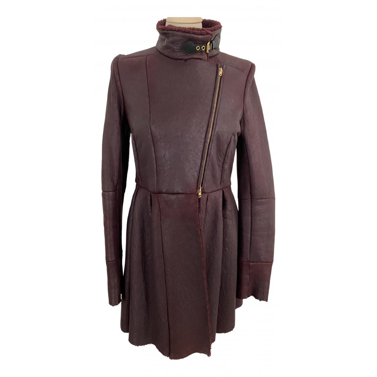 Miu Miu - Manteau   pour femme en cuir - bordeaux
