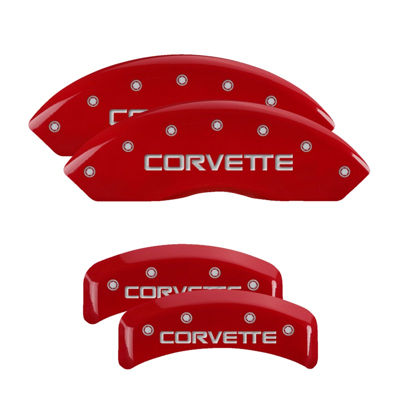 MGP Caliper Covers 13013SCV4RD Set of 4: Red finish, Silver Corvette (C4) Chevrolet Corvette 1988-1996