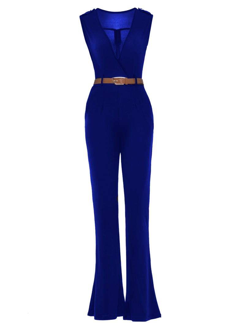 Ericdress Solid Color V-Neck Belt Jumpsuits Pants