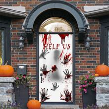 Tueraufkleber mit Halloween Buchstaben Grafik