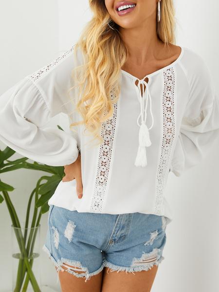 YOINS White Hollow Design Round Neck Long Sleeves Blouse