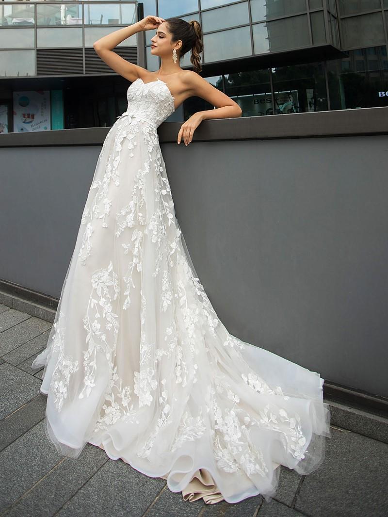 Ericdress Appliques Court Sweetheart A-Line Hall Wedding Dress 2020