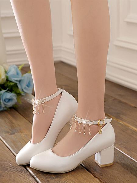 Milanoo Classic Lolita Pumps Metal Detail Floral Chain Pink Lolita Shoes