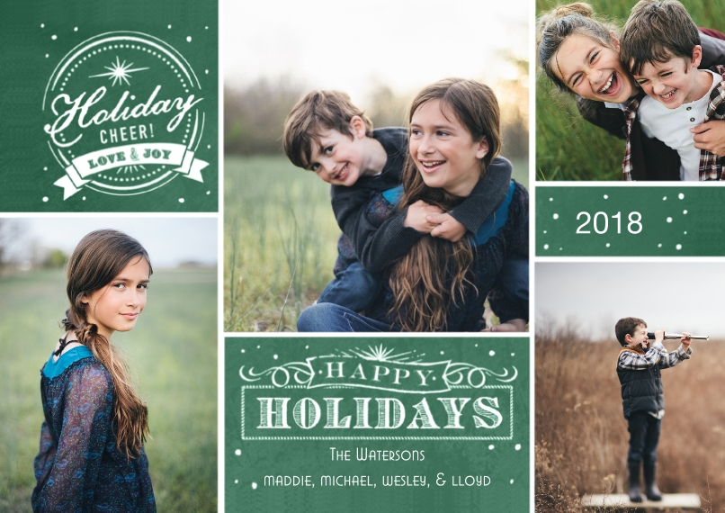 Holiday Photo Cards Flat Glossy Photo Paper Cards with Envelopes, 5x7, Card & Stationery -Vintage Chalkboard