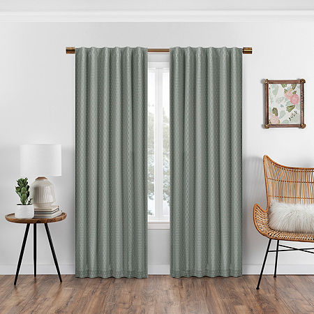Eclipse Nora Crochet Blackout Back-Tab Single Curtain Panel, One Size , Green