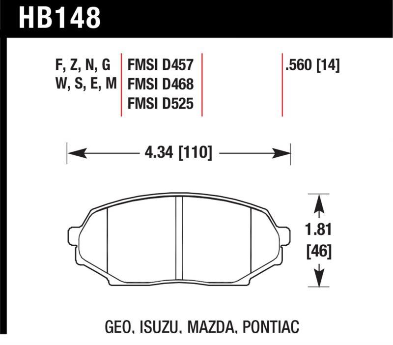 Hawk Performance HB148F.560 Disc Brake Pad Mazda Miata Front 1990-1993