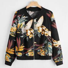Bomber Jacke mit Blumen Muster und Reissverschluss