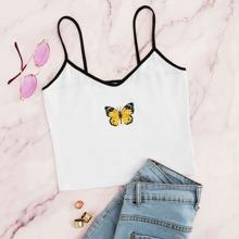 Top de tirante con estampado de mariposa unido en contraste