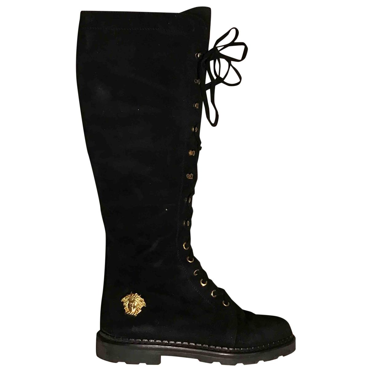 Gianni Versace - Bottes   pour femme en suede - noir