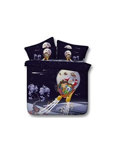 Christmas Santa Claus on Sleigh Printed 4-Piece 3D Bedding Sets/Duvet Covers