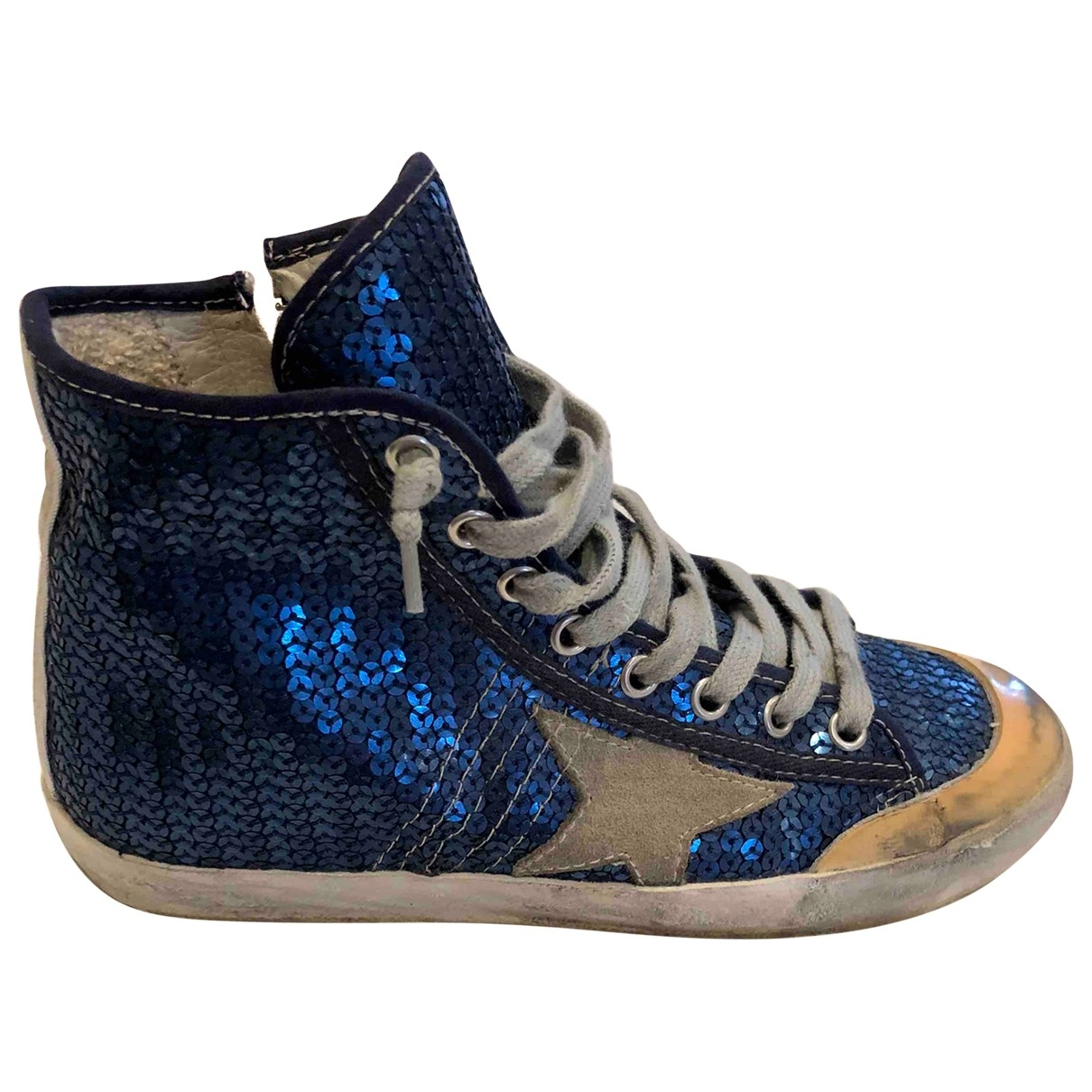 Golden Goose - Baskets Francy pour femme en cuir - bleu