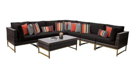 Barcelona BARCELONA-08a-GLD-BLACK 8-Piece Patio Set 08a with 3 Corner Chairs  4 Armless Chairs and 1 Coffee Table - Beige and Black Covers with Gold