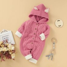 Baby Girl 3D Ears Patched Button Front Knit Jumpsuit