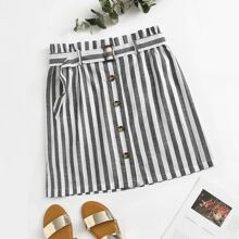 Plus Paperbag Waist Buckle Belted Striped Skirt