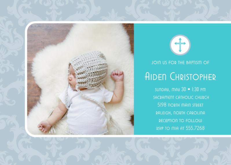 Baptism Invitations 5x7 Cards, Premium Cardstock 120lb with Elegant Corners, Card & Stationery -Blue Damask Baptism by Posh Paper