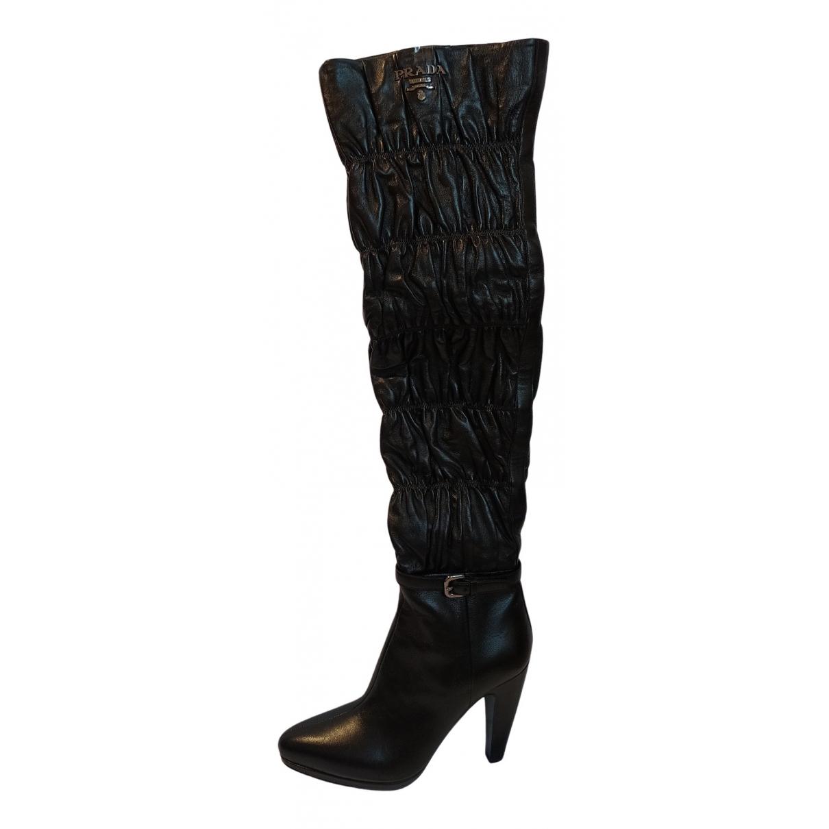 Prada N Black Leather Boots for Women 37 EU