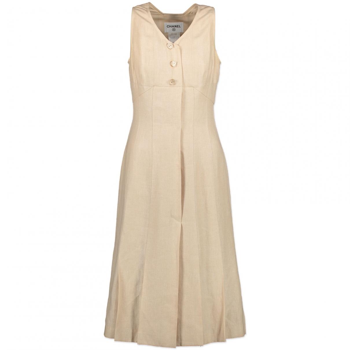 Chanel - Robe   pour femme en lin - beige