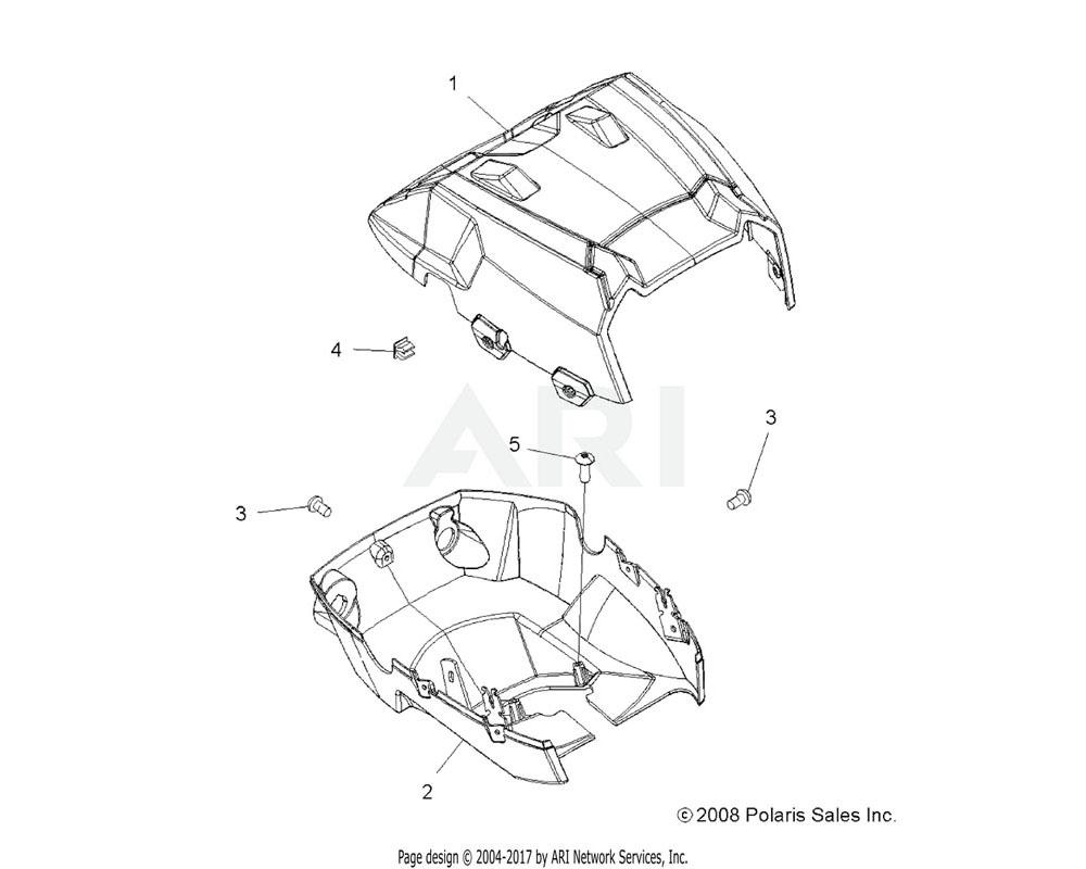 Polaris OEM 5437745-498 Pod, Headlight, Upper, Sage Brush Green   [AX]