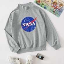 Pullover mit Stehkragen, Grafik Muster und sehr tief angesetzter Schulterpartie