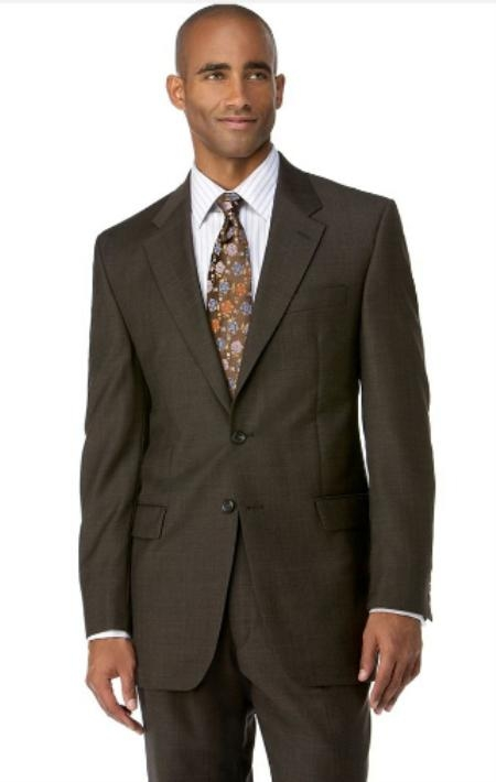 Mens Brown 3 Button Polyester affordable suit online sale
