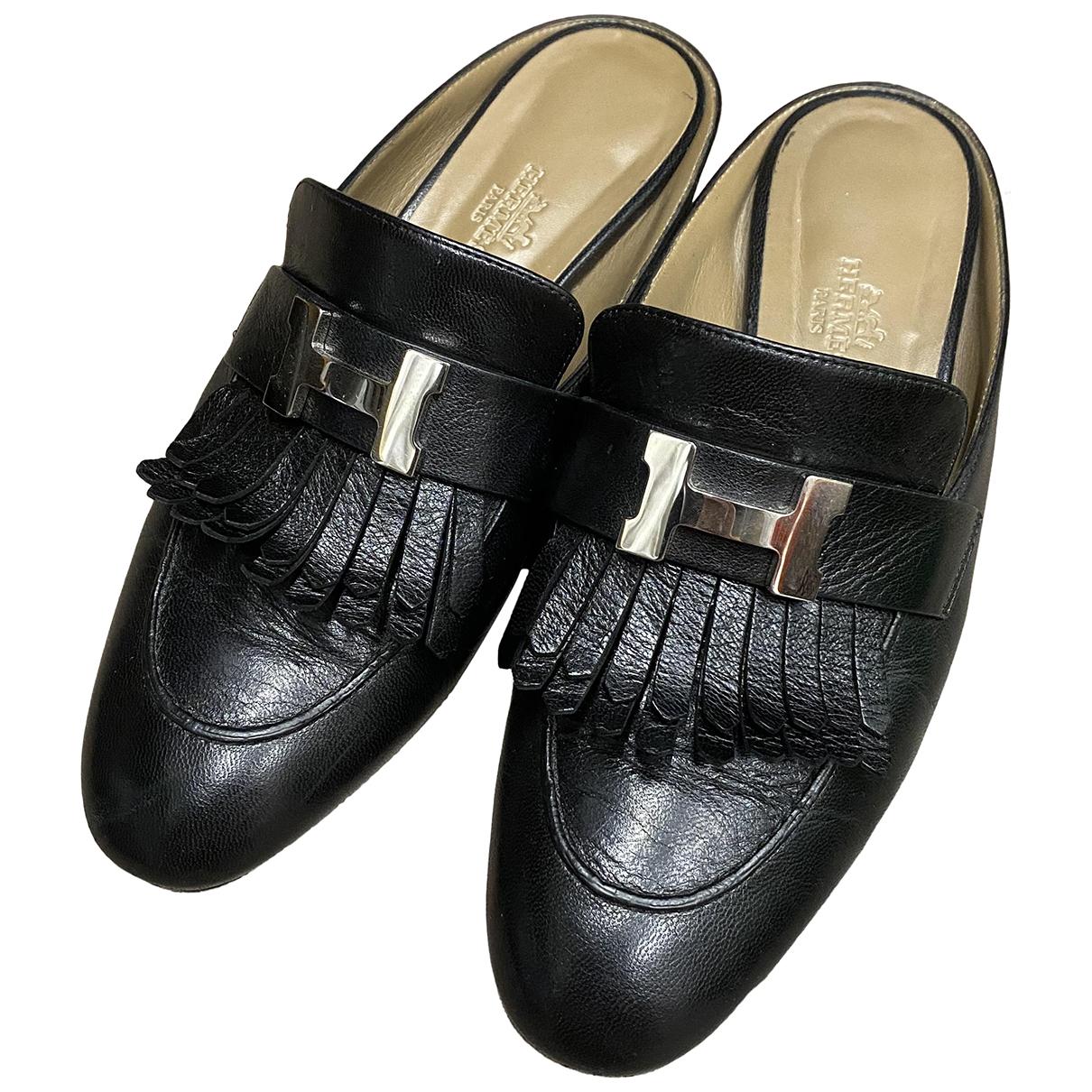 Hermès Rivoli Black Leather Sandals for Women 36.5 EU