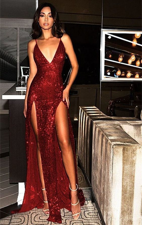 Sexy Sequined Spaghetti Strap Front Split Evening Gown