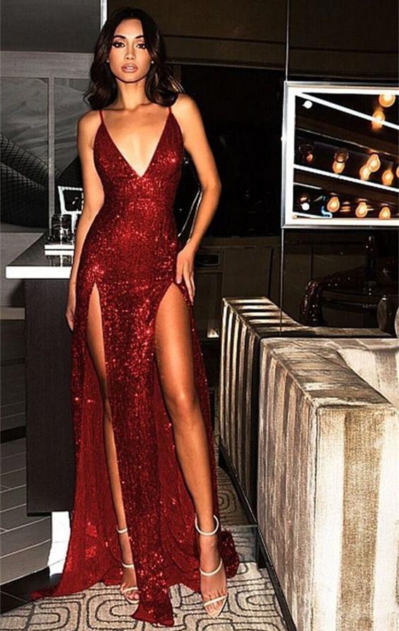 Vestido de noche sexy con lentejuelas lentejuelas frente Split Split