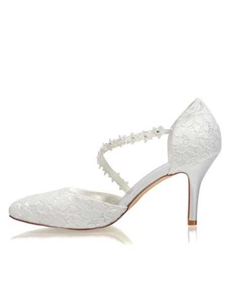 Milanoo Ivory Wedding Shoes Lace Pointed Toe Strappy High Heel Bridal Shoes