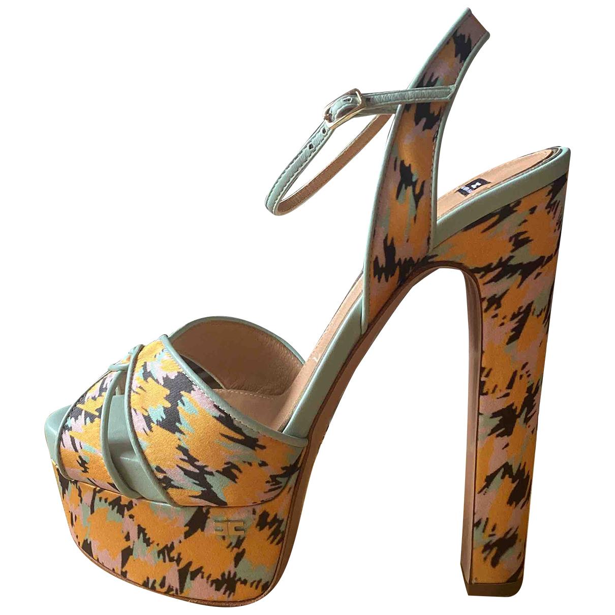 Elisabetta Franchi N Yellow Leather Sandals for Women 37 EU