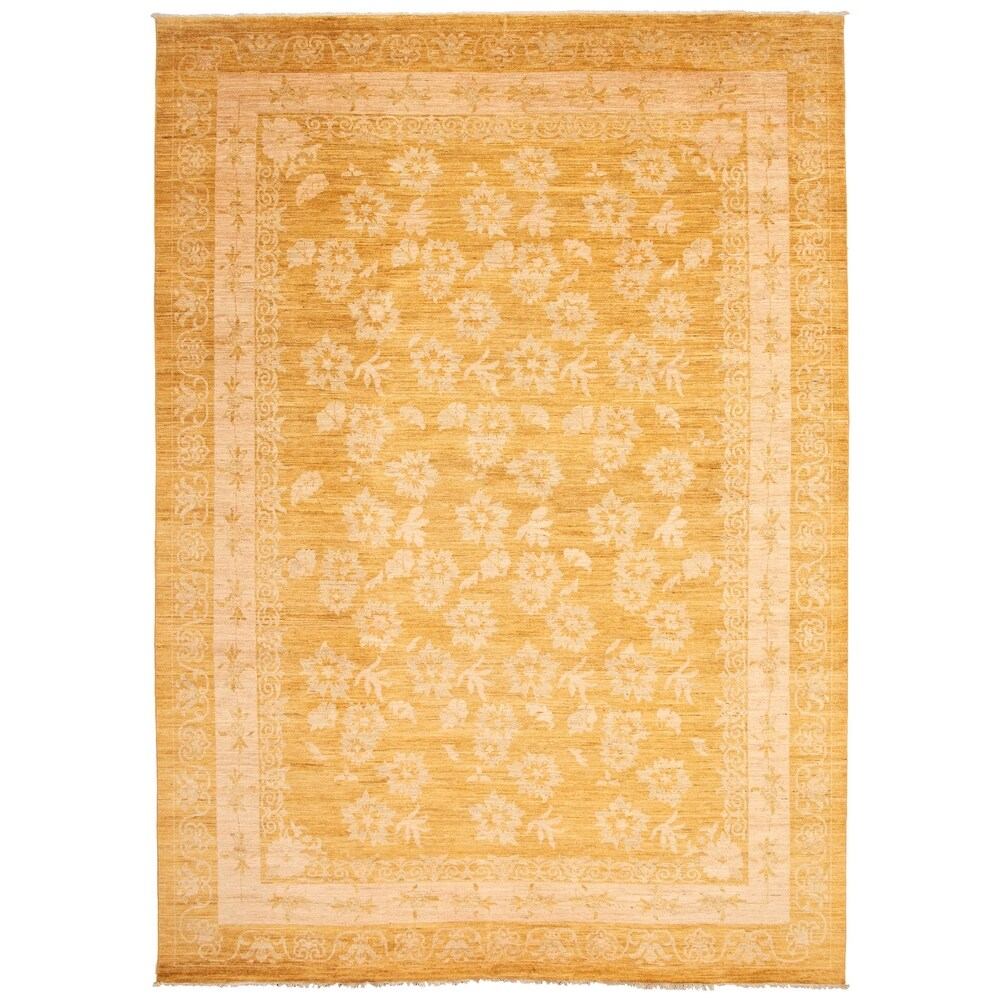 ECARPETGALLERY  Hand-knotted Peshawar Finest Ottoman Gold Wool Rug - 9'10 x 13'11 (9'10 x 13'11 - Light Gold)