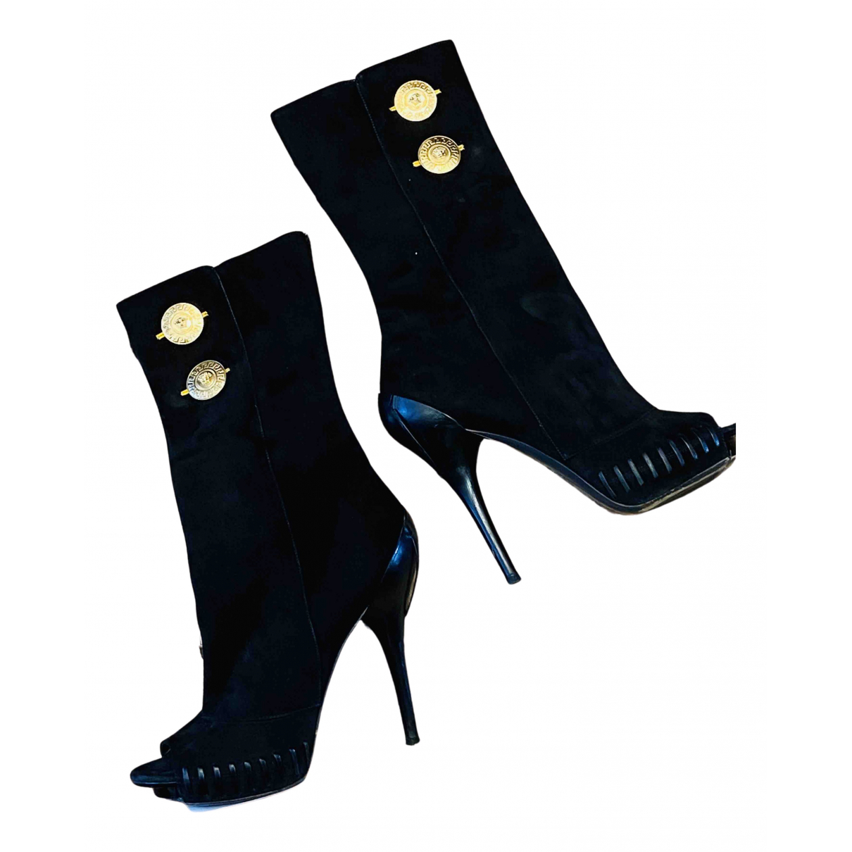 Versace N Black Suede Boots for Women 40 EU