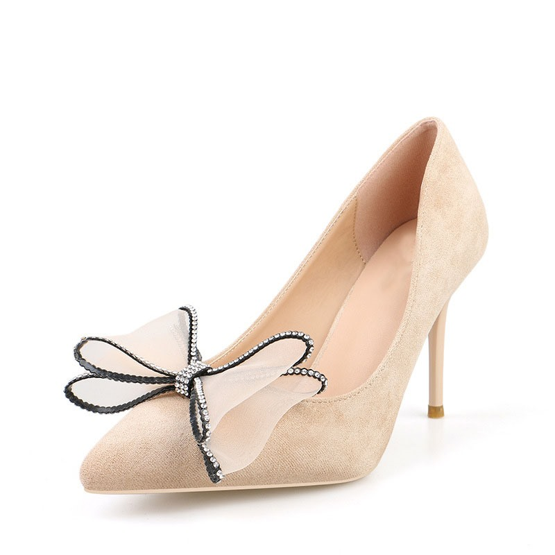 Ericdress Bow Slip-On Pointed Toe Stiletto Heel Women's Pumps