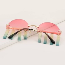 Irregular Lens Rimless Sunglasses
