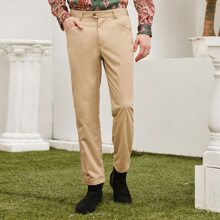 Men Zipper Fly Solid Tailored Pants