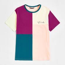 Camiseta de color combinado con estampado de letra