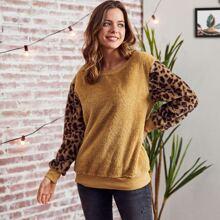 LUUKSE pullover teddy de color combinado de leopardo