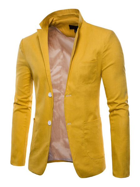 Milanoo Men Blazer Casual Front Button Suit Jacket Regular Fit Spring Blazer