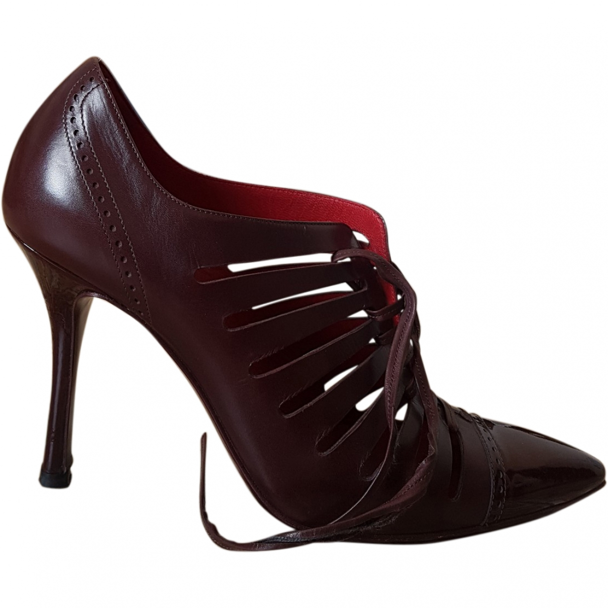 Celine \N Burgundy Leather Heels for Women 37 EU