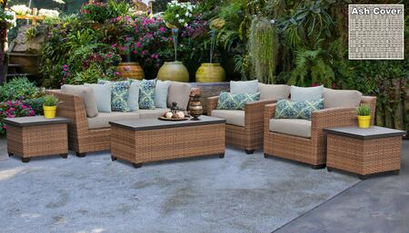 Laguna Collection LAGUNA-07d-ASH 7-Piece Patio Set 07d with 2 Corner Chair   2 End Table   1 Storage Coffee Table   2 Club Chair - Wheat and Ash