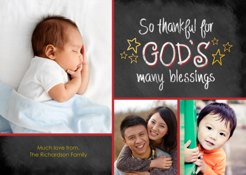 Religious Christmas Cards 5x7 Cards, Premium Cardstock 120lb with Rounded Corners, Card & Stationery -God's Many Blessings