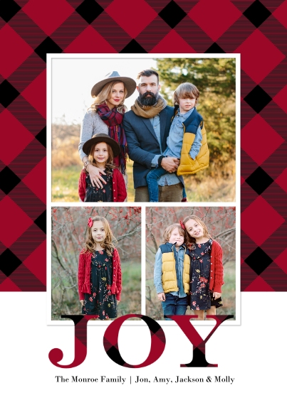 Christmas Photo Cards 5x7 Cards, Standard Cardstock 85lb, Card & Stationery -Christmas Joy Plaid by Tumbalina